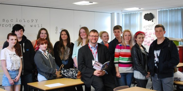 Editor David Sudworth with students at Rainford College